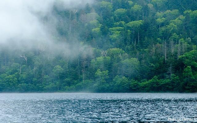 霧と然別湖