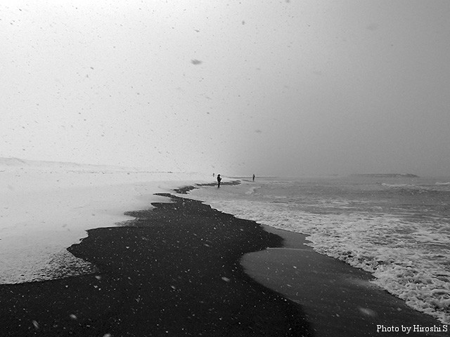 雪は降ったけど、風がなく、波も落ちていた。しかし、魚がいない。