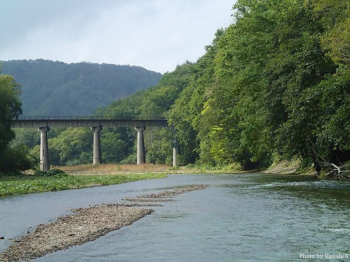 旧白糠線の橋梁が見える流れで。