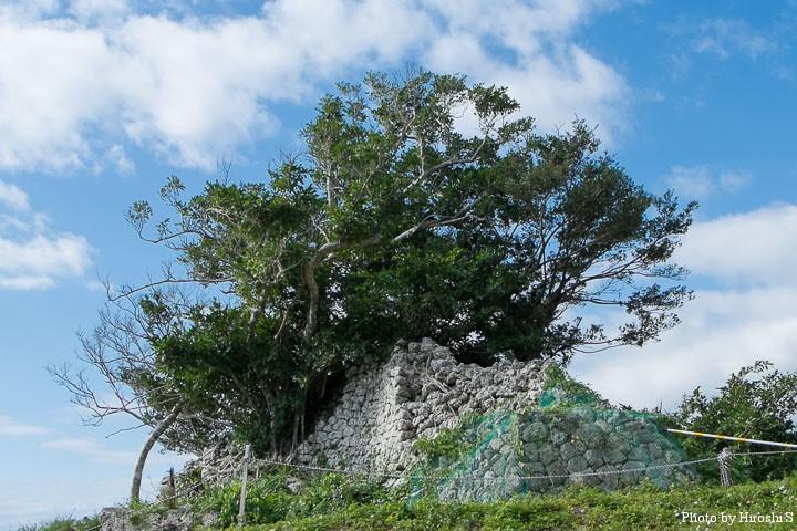 知念城跡 復元工事が行われている