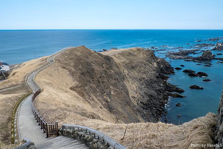 灯台から岬先端へ伸びる小路