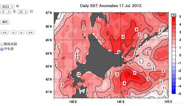 気象庁ウェブサイトより 2013年7月17日 平年海水温との差