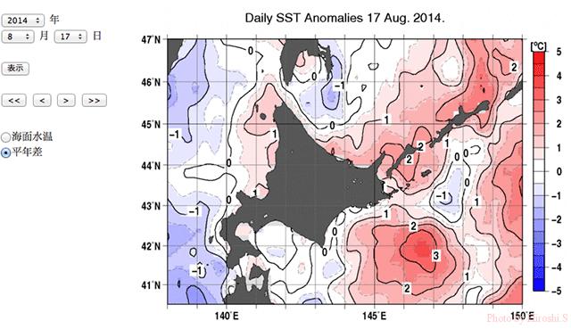 気象庁ウェブサイトより 2014年8月17日 平年海水温との差
