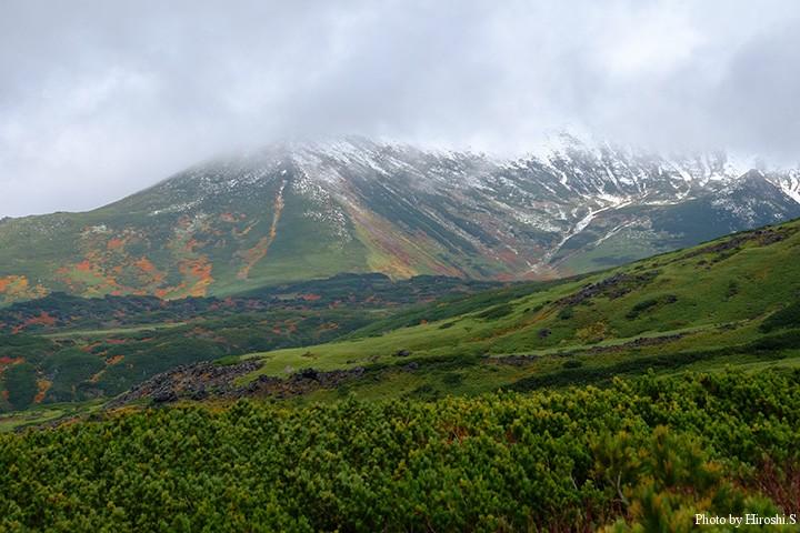 既に冠雪し、紅葉も中腹まで下がっている。