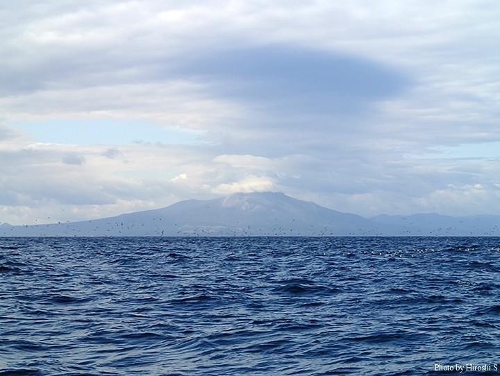 活火山である駒ヶ岳の前に鳥山が