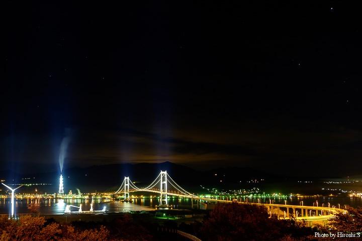 祝津公園からの夜景 白鳥大橋を望める。