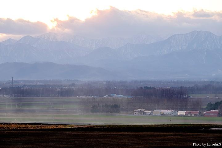 日高山脈は既に冬 畑の緑は、秋まき小麦である。